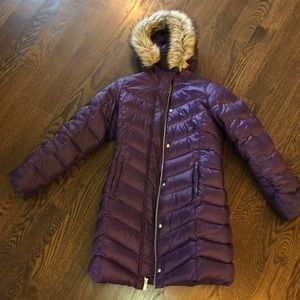 Lands End girls puffed fur hood 10-12 purple